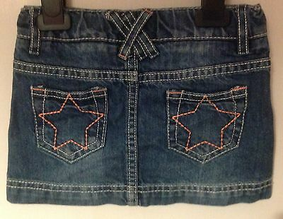 Stylish Blue Denim Skirt Neon Orange Star Detail Back Pocket Toddler Girl 12-18M