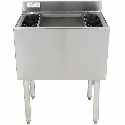 "18"" x 24"" Underbar Stainless Steel Commercial NSF 77lb Ice Bin Cooler Under Bar"