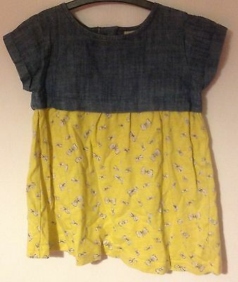 Next Blue Denim Yellow White Bow Cotton Dress Wedding Party Holiday 1Y 12-18M