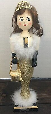Vintage Lady Nutcracker Crown Glittered Gold Wood Christmas Decor Mermaid