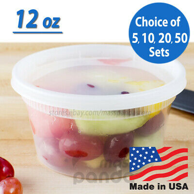 12oz Heavy Duty Small Round Deli Food/Soup Plastic Containers w/ Lids BPA free