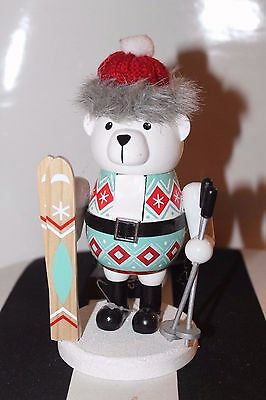 New Bear Skiing Winter Snow Wooden Nutcracker Fur Cable Knit Toque