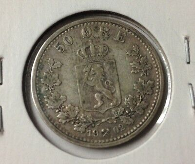 1902 Norway 50 Ore Silver Coin