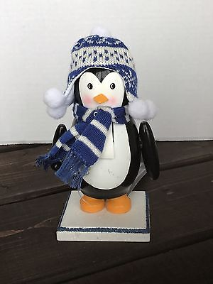 New Penguin Fur Cable Knit Toque Scarf Wooden Nutcracker Christmas Decor
