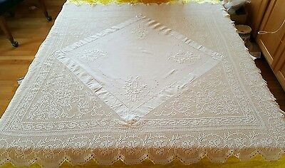 """Vintage Tablecloth Crocheted & Embroidered Ecru Cotton 41"""" x 43"""" EUC"""