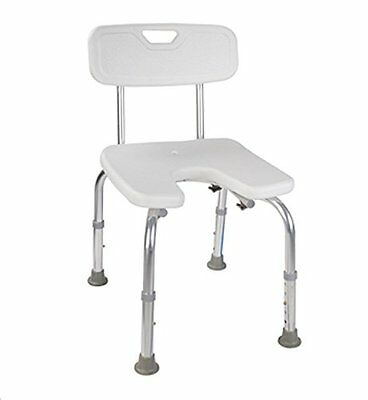 MedMobile U-shape Aluminum Shower Chair with Back Support, Hygienic Pericut and
