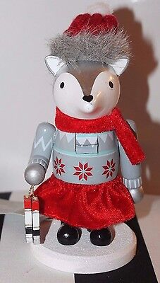 New Squirrel Wooden Skating Nutcracker Women Christmas Decor Tutu Red