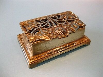 Beautiful Handmade Antique Art Nouveau Solid Brass Stamp Holder / Inkwell