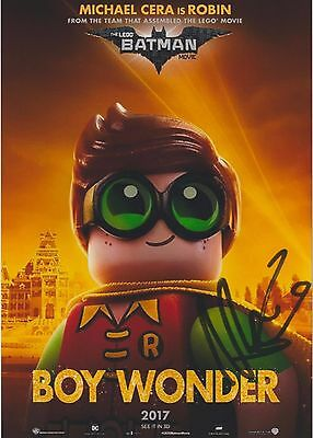 """The Lego Batman Movie (2017) """"Robin"""" Michael Cera EXTREMELY RARE SIGNED RP 8x10"""