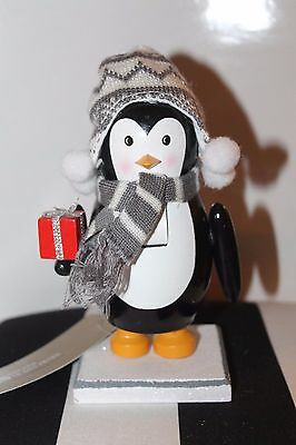 New Penguin Wooden Nutcracker Gift Scarf Toque Cable Knit Snow Christmas Decor