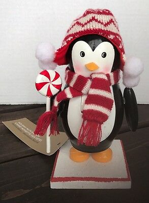 New Penguin Wooden Nutcracker Cable Knit Scarf Toque Candy Cane Christmas Decor