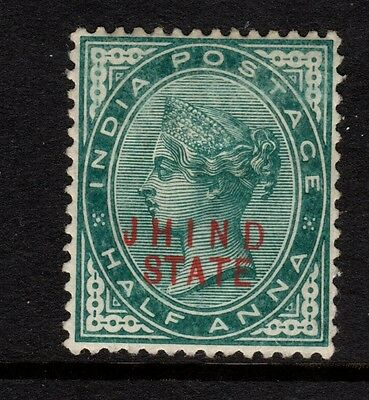 India Conv Jind QV 1886 SG13 ½a Blue-green (R) - Mounted mint