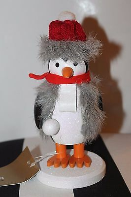 New Penguin Fur Cable Knit Red Toque Scarf Christmas Decor Wooden Nutcracker