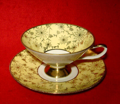 Eberthal Bavaria Footed Cup & Saucer Set Floral Gold Yellow Made In Germany
