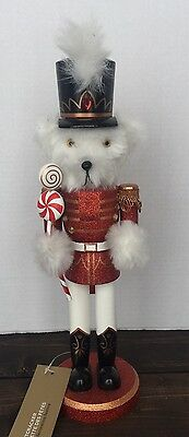 New Bear Soldier Wooden Nutcracker Red Military Candy Cane Christmas Decor