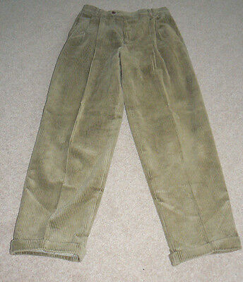 """Vintage Pleated Corduroy Trousers Turn Ups 90's does 40s/50s  W32 L31"""" R Mustard"""