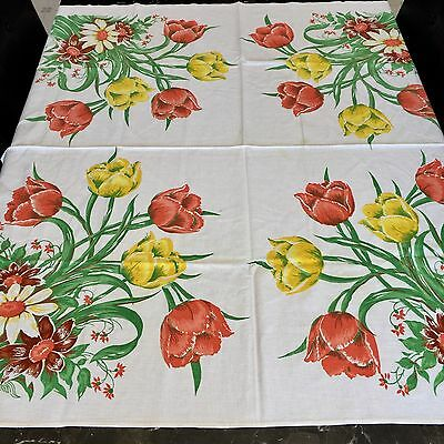 Vintage Floral Tablecloth 45 X 47 Inches