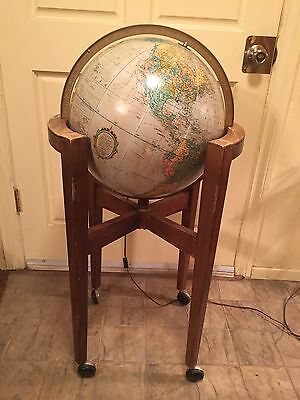 "Vintage Mid Century Modern 16"" Replogle Heirloom Lighted Globe"