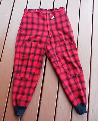 Vintage Woolrich Hunting Wool Pants Red/Black Plaid Men's 35 x 31(?) Made in USA