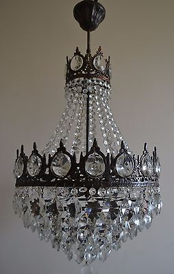 Vintage Antique French Basket Style Brass & Crystals Chandelier Ceiling Lamp