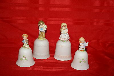 Homco Boy and Girl Matching Bells Set and ROC Lot of 4 Number 1416