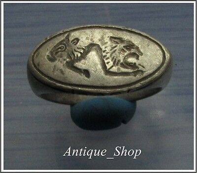 ** LION and BULL**Ancient Silver GREEK-ROMAN Ring **AMAZING**10.15 g