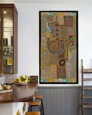 Wall Hanging art Vintage Bohemian Hippie Hippy Embroidered Patchwork Tapestry