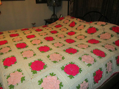 Flower Vintage Crochet Floral Bedspread King Size but will fit Queen or Full Bed