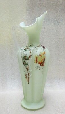 ANTIQUE URANIUM GLASS EWER!  VASELINE HAND ENAMEL ROSE & Lucky CLOVER! frosted