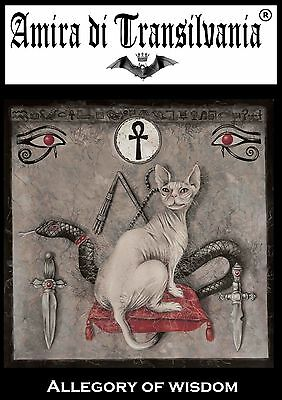 Egyptian Cat symbol cross of wisdom all-seeing eye dagger original painting sign