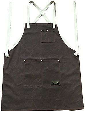Craftsmans Guild Waxed Canvas Heavy Duty Apron Cotton Straps Utility Tool BBQ...