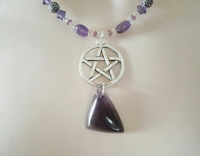 Amethyst Pentacle Necklace, wiccan pagan wicca witch witchcraft pentagram magic