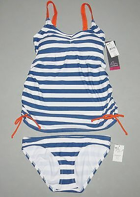 Maternity Swimsuit SMALL Tankini Set NEW NWT Motherhood Nautical Stripe S 4 6
