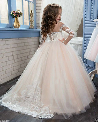Flower girl Dress Girls Formal  Pageant Gown Birthday Princess Kids Party Prom