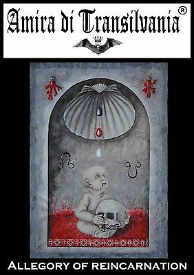Acrylic canvas painting magic symbol shells little child coral skull eggs knot