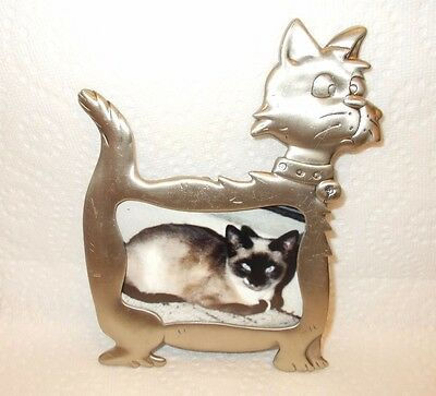 Kiity cat with a jingle bell collar pewter/metal picture frame