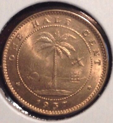 Liberia 1937 1/2 Cent Km10 1 Year Type Elephant Uncirculated