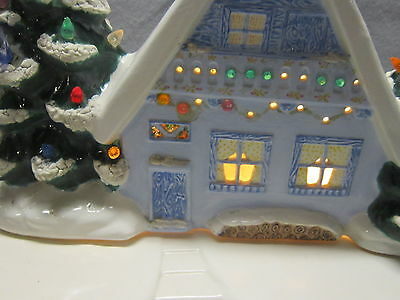 Vintage Lighted Ceramic Christmas House With Stand Hand Made Large