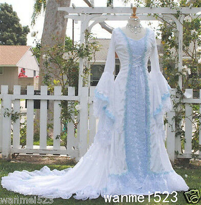 CELTIC WEDDING DRESSES Medieval Bridal Gowns Corset Bell Sleeve Size ...