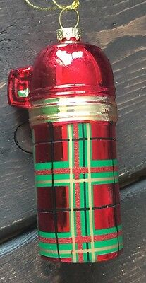 New Glass Blown Christmas Tree Ornament Fire Hydrant Glitter Funky Holiday Plaid