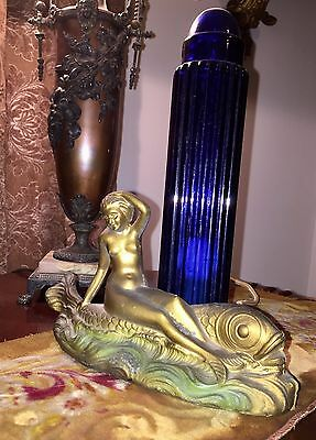 Antique Art Deco Lamp with Mermaid and Dolphin
