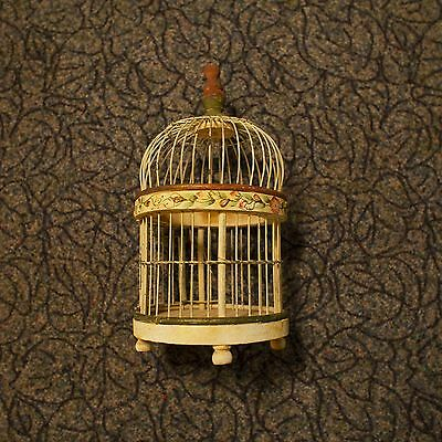 """Vintage Antique Wood And Wire Bird Cage Hand Painted Design 13""""x 7"""" Hanging Cage"""