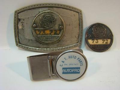Vintage Chrysler Beltbuckle and Pin New Castle Indiana