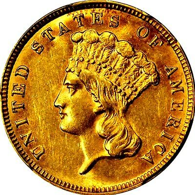 1887 $3 Gold Princess  **only 6000 Minted**   +++ Certified Pcgs Au58 +++