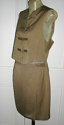 VINTAGE 90's CARAMEL SILK SKIRT SUIT by EMANUEL UNGARO IN MINT CONDITION SIZE: 8