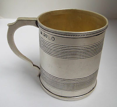 Beautiful Antique English Georgian 1825 Solid Sterling Silver Christening Mug