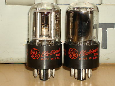 2 Ge 6Sl7Gt Matched Silver Plate Twin Triode Vintage Vacuum Tubes Usa - Tested