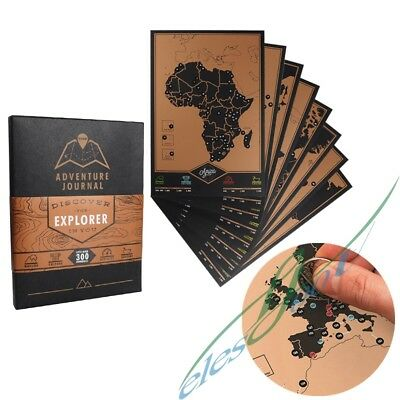 Deluxe Worldwide Adventure Travel Map Scratchable Adventure Journal Explorer
