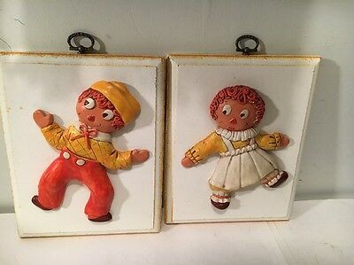 VINTAGE RAGGEDY ANN & ANDY WALL PLAQUES--WOW - One Of Kind JEANIE