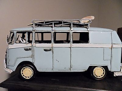 Handcrafted Metal Tin Antique Style Blue Vw Volkswagen Bus W/ Surfboards On Top